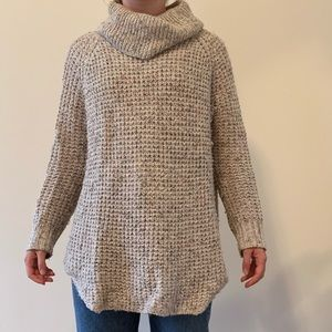 Cream speckled cowl neck sweater tunic